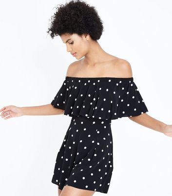 Black Polka Dot Bardot Neck Playsuit