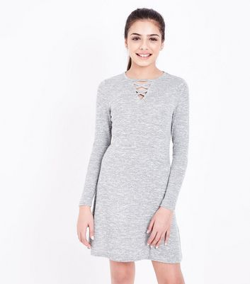 Teens Grey Lattice Front Long Sleeve Dress