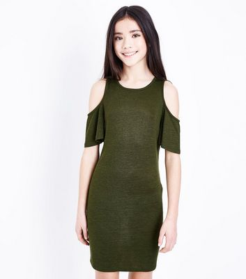 Teens Khaki Frill Sleeve Cold Shoulder Bodycon Dress