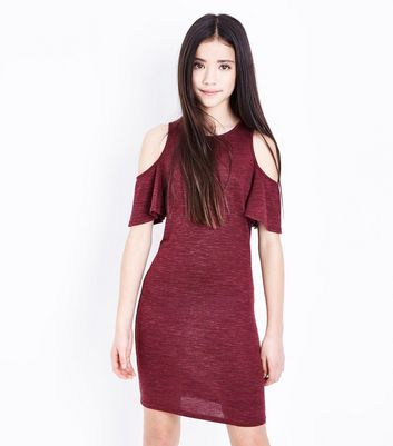 Teens Burgundy Frill Sleeve Cold Shoulder Bodycon Dress