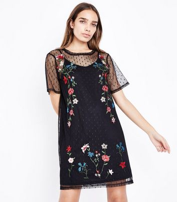 Black Floral Embroidered Spot Mesh T-Shirt Dress