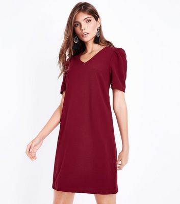 Cameo Rose Burgundy Puff Sleeve Dress