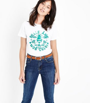 White Bee Print T-Shirt