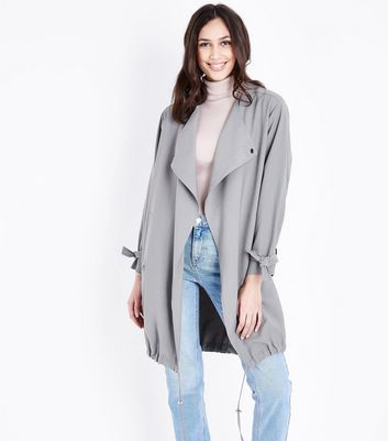 Grey Waterfall Duster Jacket