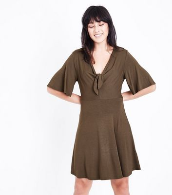 Khaki Tie Front Jersey Skater Dress