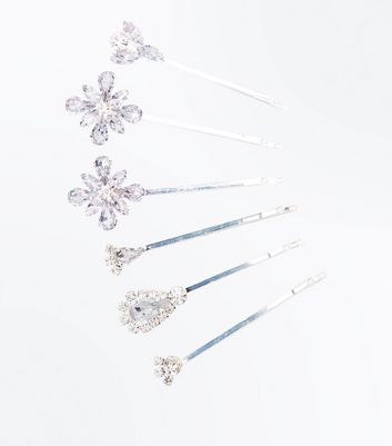 6 Pack Silver Crystal Embellished Hair Clips
