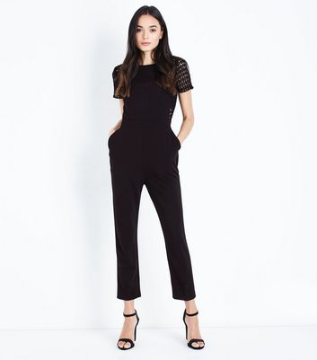 Black Lace Panel Short Sleeve Jumpsuit