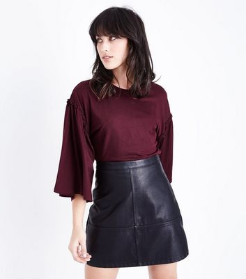 Burgundy Frill Flared Sleeve T-Shirt