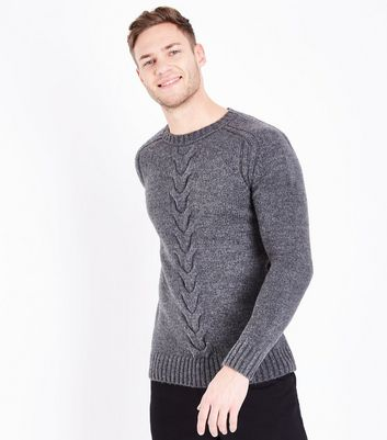 Grey Cable Knit Panel Crew Neck Jumper