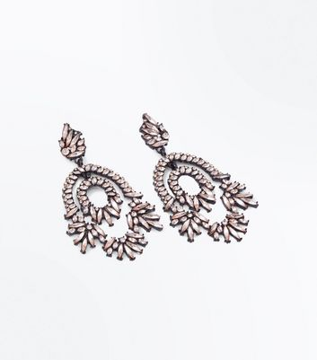 Light Pink Stone Embellished Chandelier Earrings