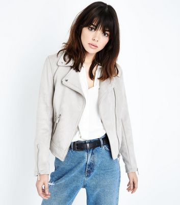 Pale Grey Suedette Biker Jacket