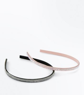 2 Pack Black And Pink Diamante Headbands