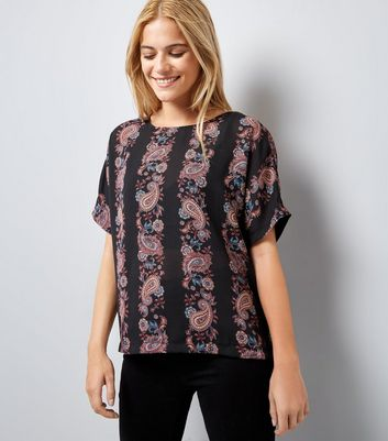 Apricot Red Paisley Stripe Top