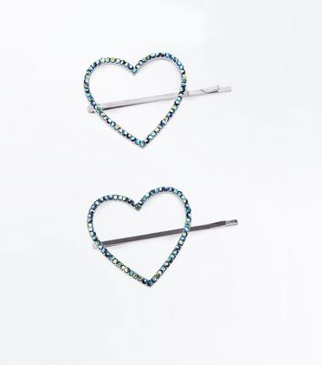 Green Iridescent Embellished Heart Hair Grips
