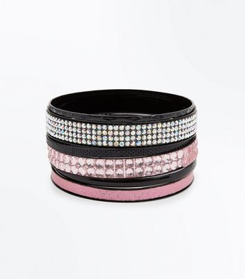 Black Stone Embellished Bangle Pack