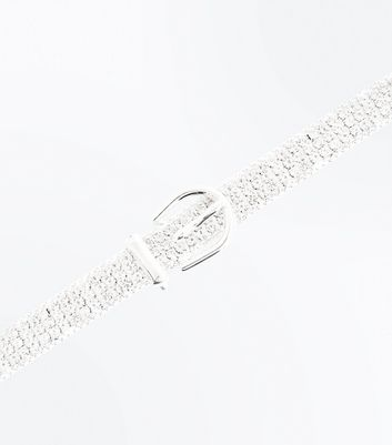 Silver Diamante Buckle Anklet