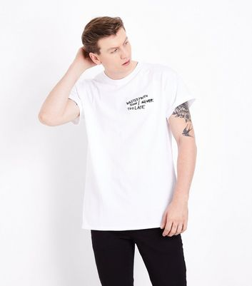White Now Too Late Embroidered Slogan T-Shirt