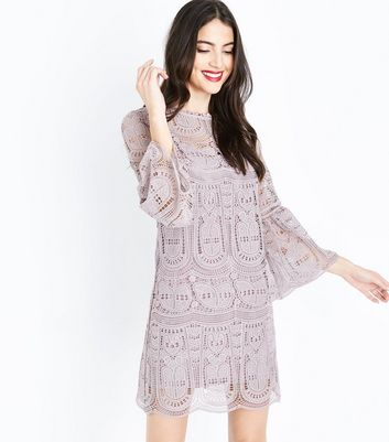 Pink Crochet Lace Bell Sleeve Mini Dress