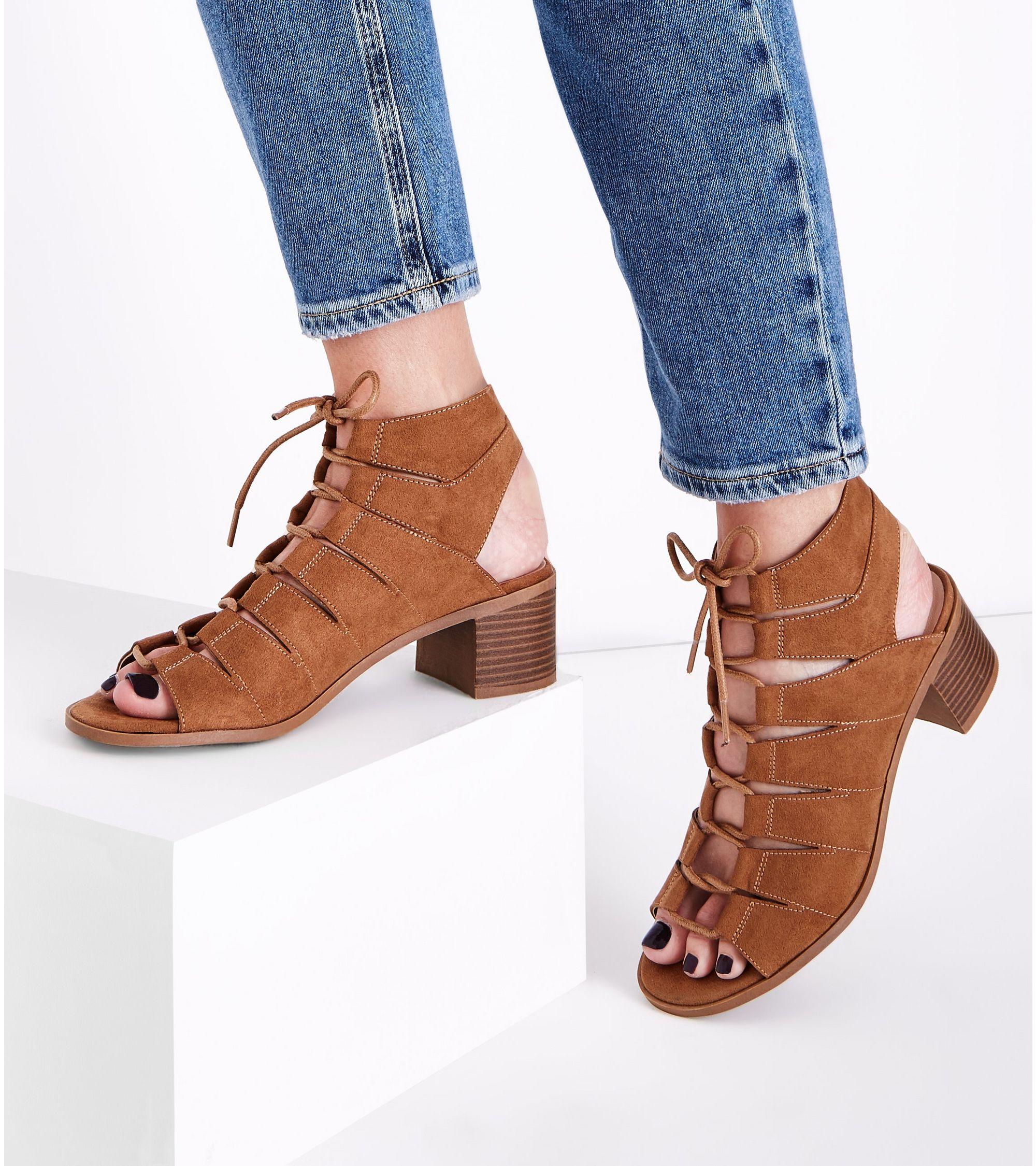 ff4280bdcd3 New Look Tan Suedette Low Block Heel Ghillie Sandals at £25.99 ...