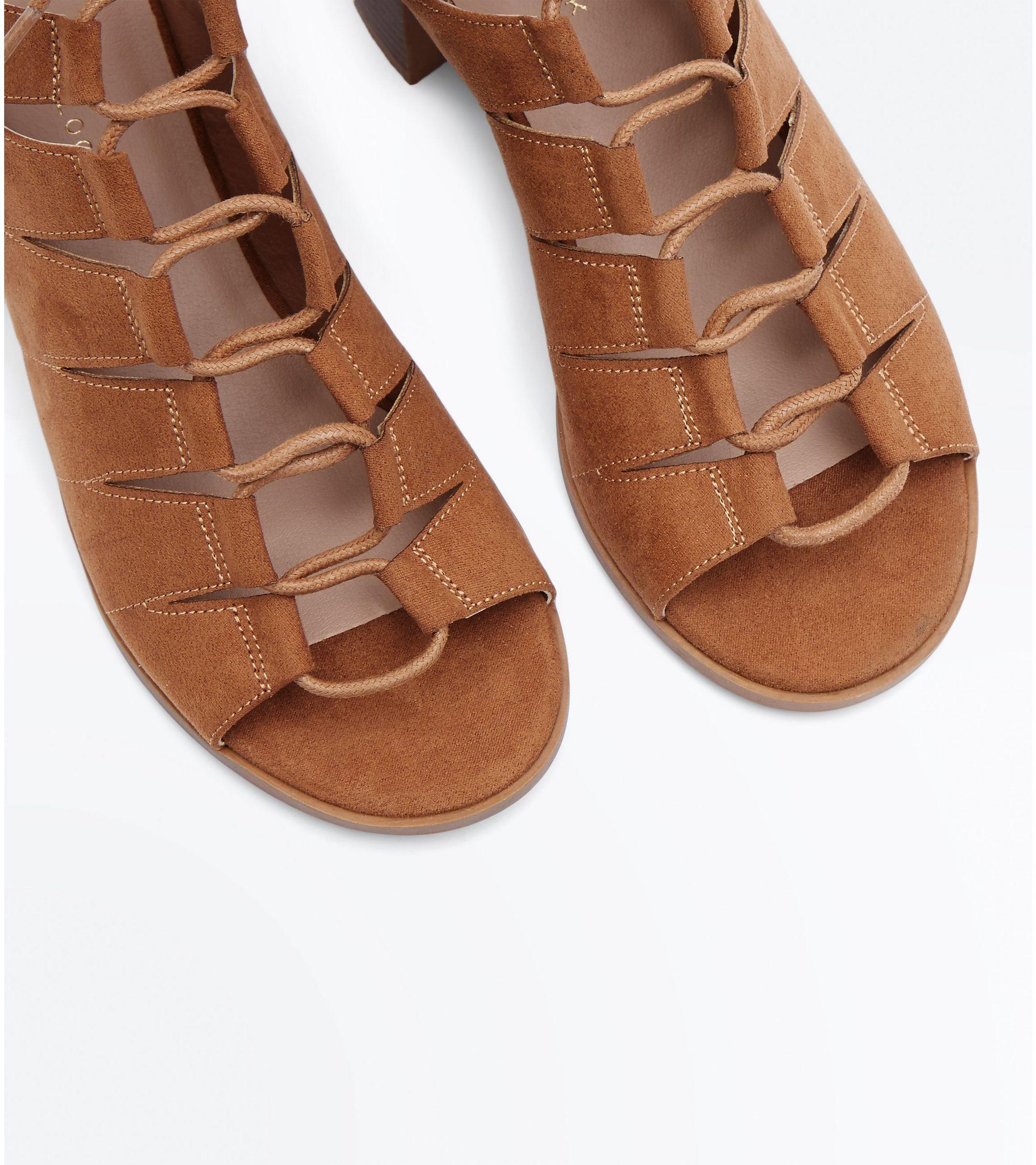 f933adf49572 New Look Tan Suedette Low Block Heel Ghillie Sandals at £13