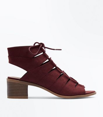 Burgundy Suedette Low Block Heel Ghillie Sandals