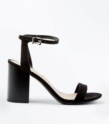 Black Suedette Wooden Block Heels