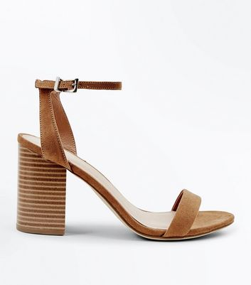 Tan Suedette Wooden Block Heels