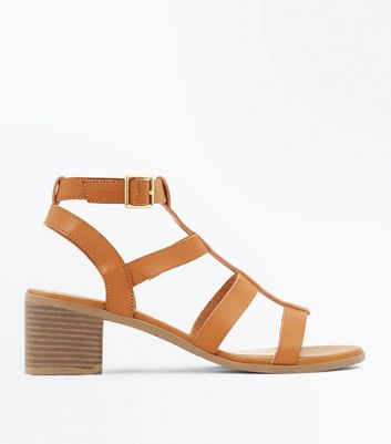 Tan Low Block Heel Gladiator Sandals