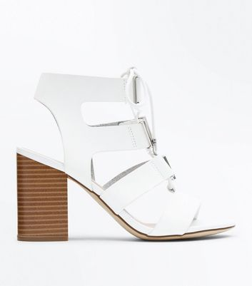 White Lace Up Wooden Block Heel Sandals