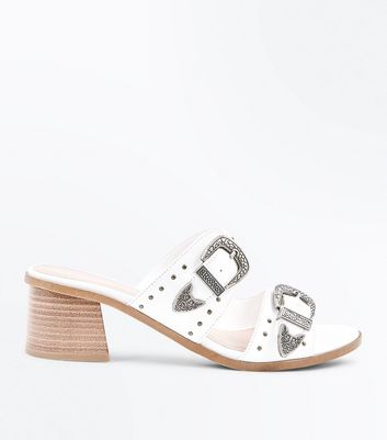 White Studded Western Buckle Mules