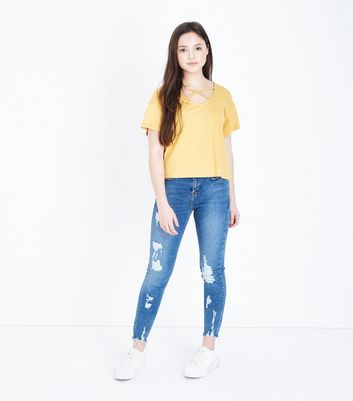 Teens Blue Ripped Frayed Hem Skinny Jeans by New Look