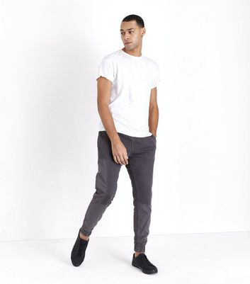 Dark Grey Contrast Panel Cuffed Joggers