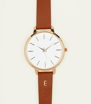 Tan E Initial Leather Watch