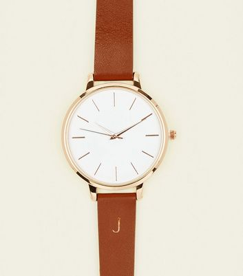 Tan J Initial Leather Watch