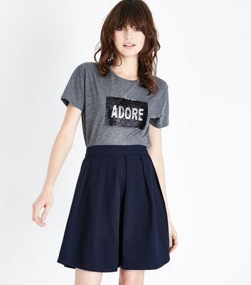 JDY Navy Pleated A-Line Skirt