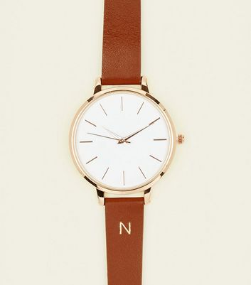Tan N Initial Leather Watch