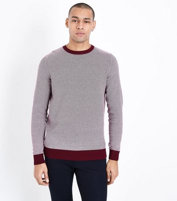 Burgundy Stripe Crew Neck Sweatshirt