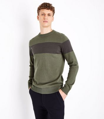 Khaki Colour Block Stripe Jumper