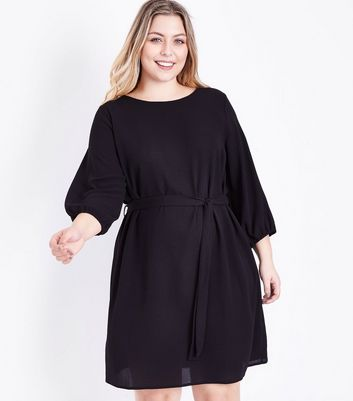 Curves Black Balloon Sleeve Belted Tunic Dress