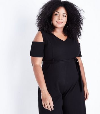 Curves Black Cold Shoulder Culotte Jumpsuit