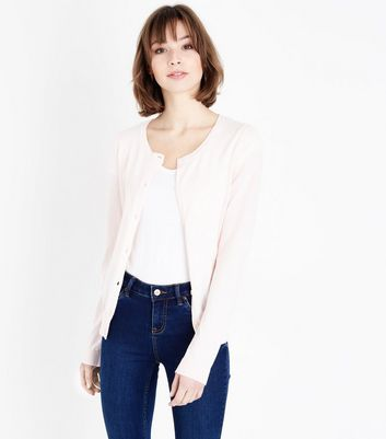 Pale Pink Crew Neck Cardigan
