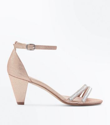 Teenager – Roségoldfarbene, glitzernde High Heels mit Strass