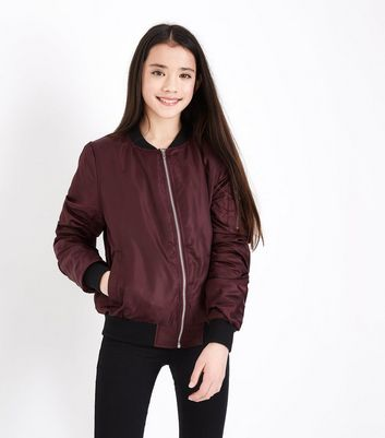 Teens Burgundy Satin Bomber Jacket