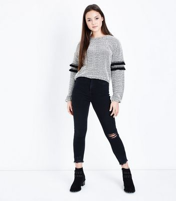 Teens Black Knee Ripped Skinny Jeans