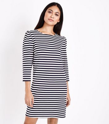 Petite Blue Stripe 3/4 Sleeve Tunic Dress