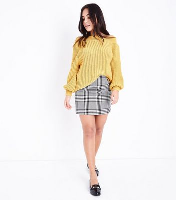 Petite Black Check Mini Skirt