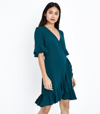Petite Dark Green Frill Trim Wrap Front Dress