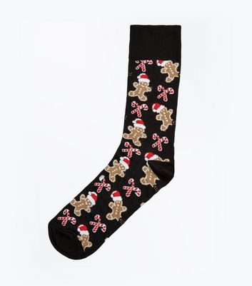 Black Gingerbread Christmas Socks