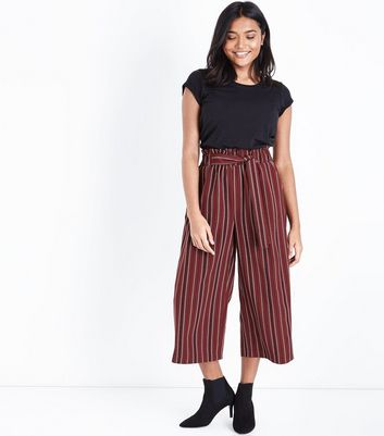 Petite Red Stripe Paperbag Waist Culottes