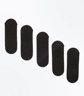 5 Pack Black Invisible Liner Socks